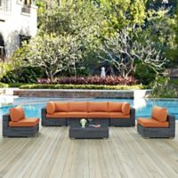 Modway Summon 7-Piece Outdoor Wicker Sectional Set in Sunbrella® Canvas Tuscan