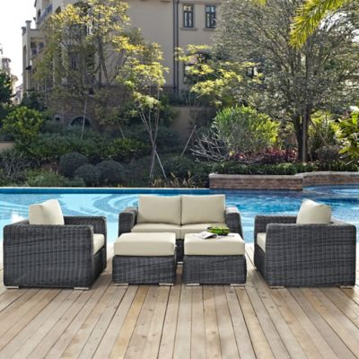 Modway Summon 5 Piece Outdoor Wicker Sectional Set In Sunbrella® Canvas  Antique Beige