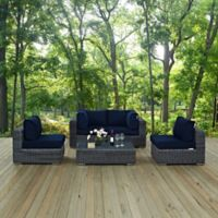 Modway Summon 5-Piece Outdoor Patio Wicker Sectional Set in Sunbrella® Canvas Navy