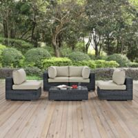 Modway Summon 5-Piece Outdoor Patio Wicker Sectional Set in Sunbrella® Canvas Antique Beige