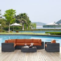 Modway Summon 7-Piece Outdoor Wicker Conversation Set in Sunbrella® Canvas Tuscan