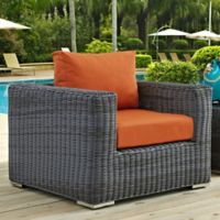 Modway Summon Outdoor Wicker Armchair in Sunbrella® Canvas Tuscan