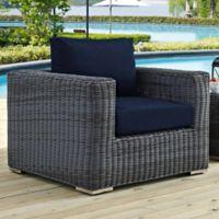 Modway Summon Outdoor Wicker Armchair in Sunbrella® Canvas Navy
