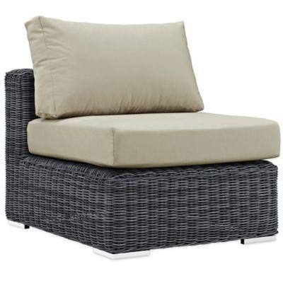 Modway Summon Outdoor Wicker Armless Chair In Sunbrella® Canvas Antique  Beige