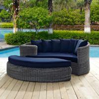Modway Summon 2-Piece Outdoor Wicker Daybed in Sunbrella® Canvas Navy