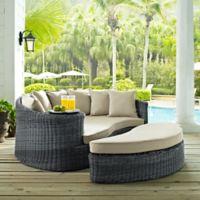 Modway Summon 2-Piece Outdoor Wicker Daybed in Sunbrella® Canvas Antique Beige
