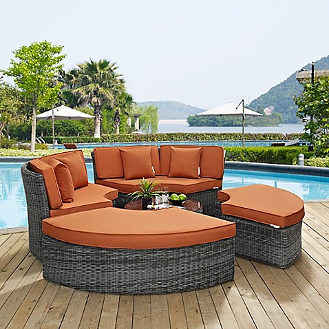 Modway Summon 5 Piece Outdoor Wicker Circular Daybed In