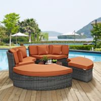 Modway Summon 5-Piece Outdoor Circular Daybed in Sunbrella® Canvas Tuscan