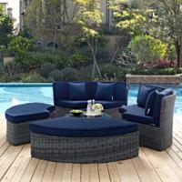 Modway Summon 5-Piece Outdoor Circular Daybed in Sunbrella® Canvas Navy