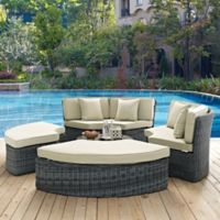 Modway Summon 5-Piece Outdoor Circular Daybed in Sunbrella® Canvas Antique Beige