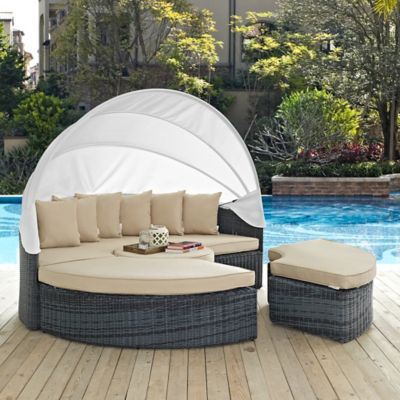 Modway Summon Outdoor Canopy Daybed In Sunbrella Canvas Antique Beige