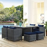 Modway Summon 9-Piece Outdoor Wicker Dining Set in Sunbrella® Canvas Navy