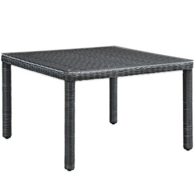 Modway Summon Outdoor Wicker Square Dining Table In Grey