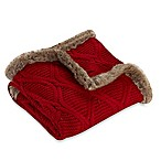 Cozy Faux Fur Trimmed Buffalo Plaid Cable Knit Throw Blanket in Red