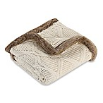 Cozy Faux Fur Trimmed Buffalo Plaid Cable Knit Throw Blanket in Cream