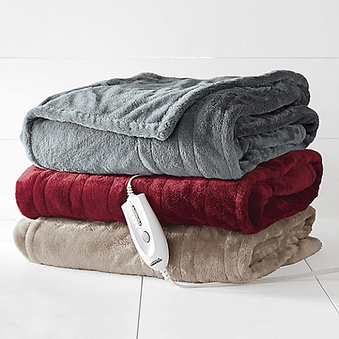 Theic Electric Heated Silky Plush Throw Blanket