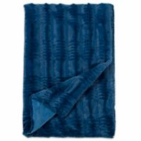 Embossed Faux Mink Fur Throw Blanket in Teal