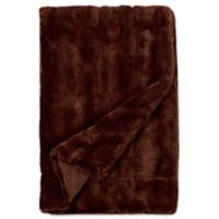 Embossed Faux Mink Blanket in Brown