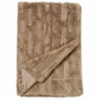 Embossed Faux Mink Blanket in Taupe