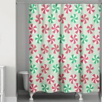 Peppermint Candy Shower Curtain in Green/Red