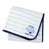 "Gerber® ""Hello Little One"" Whale Plush Blanket in Blue"
