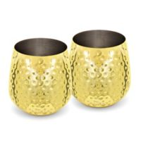 Silver One Stemless Goblet in Gold (Set of 2)