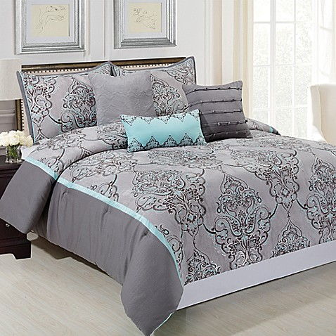Silver sparkle 6 piece comforter set in grey blue bed for Blue and grey bathroom sets