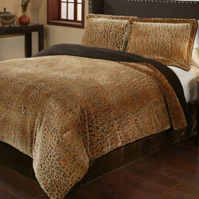 Cheetah 3 Piece Queen Plush Comforter Set. Buy Cheetah Print Bed Sets from Bed Bath   Beyond