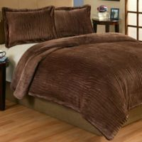 Lodge 2-Piece Plush Twin Comforter Set in Brown