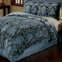 Provence 3-Piece Reversible Plush Full/Queen Comforter Set in Charcoal