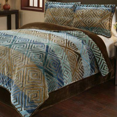 savoy 3piece reversible plush fullqueen comforter set in gold