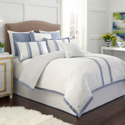 rosenwald london reversible king duvet cover in whiteblue