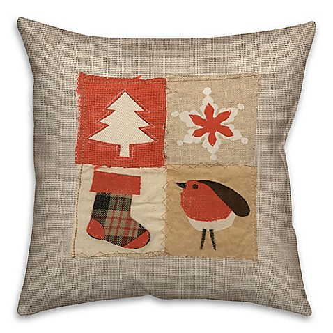 Stitched Christmas Patched Throw Pillow - Bed Bath & Beyond