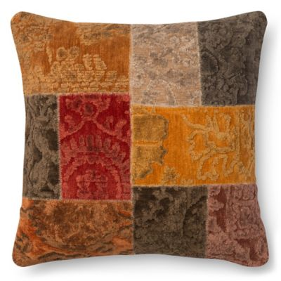 Loloi Stretched Hexagons Square 22 Inch Throw Pillow In Red/Brown
