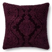 Loloi Chenille Damask 22-Inch Square Throw Pillow in Eggplant