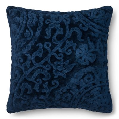 loloi dr gandhis chenille scroll 22inch square throw pillow in smoke in indigo