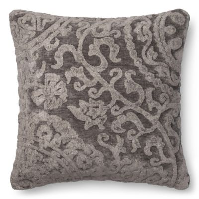 Loloi Dr  Gandhis Chenille Scroll 22 Inch Square Throw Pillow in Smoke in  Ash. Buy Decorative Pillow Cover from Bed Bath   Beyond