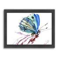 Americanflat Butterfly Blue Wood-Framed Wall Art