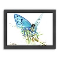 Americanflat Butterfly Blue 2 Wood-Framed Wall Art