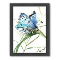 Americanflat Butterfly Blue 3 Wood-Framed Wall Art