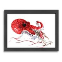 Americanflat Suren Nersisyan Designs Octopus Matte Print in Red with Frame