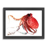 Americanflat Suren Nersisyan Designs Octopus Matte Print in Deep Red with Frame