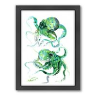 Americanflat Suren Nersisyan Designs Octopus Matte Print in Green with Frame