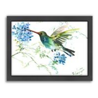 Suren Nersisyan Hummingbird with Blue Flowers Wall Art