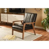 Baxton Studio Nikko Wooden Lounge Chair in Dark Brown
