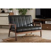 Baxton Studio Nikko Faux Leather 2-Seater Love Seat in Black
