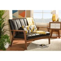 Baxton Studio Nikko Faux Leather 2-Seater Love Seat in Dark Brown
