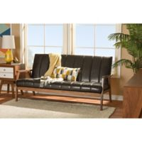 Baxton Studio Nikko Faux Leather 3-Seater Sofa in Dark Brown