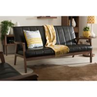 Baxton Studio Nikko Faux Leather 3-Seater Sofa in Black