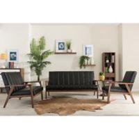 Baxton Studio Nikko 3-Piece Living Room Set in Black